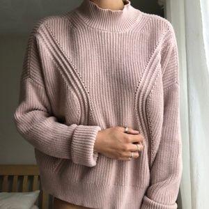 Kendall + Kylie Blush Mock Turtleneck Sweater